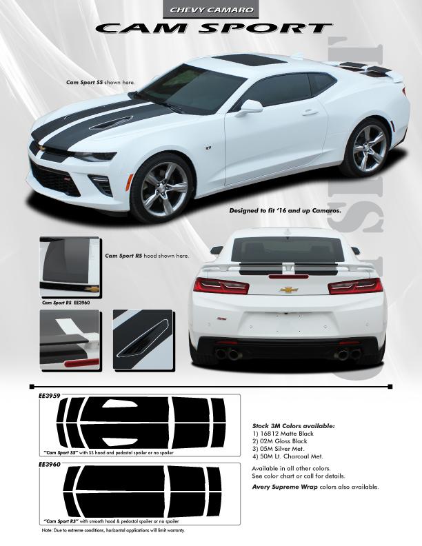 Cam-Sport Stripe Graphics fit 2016-2018 Chevy Camaro