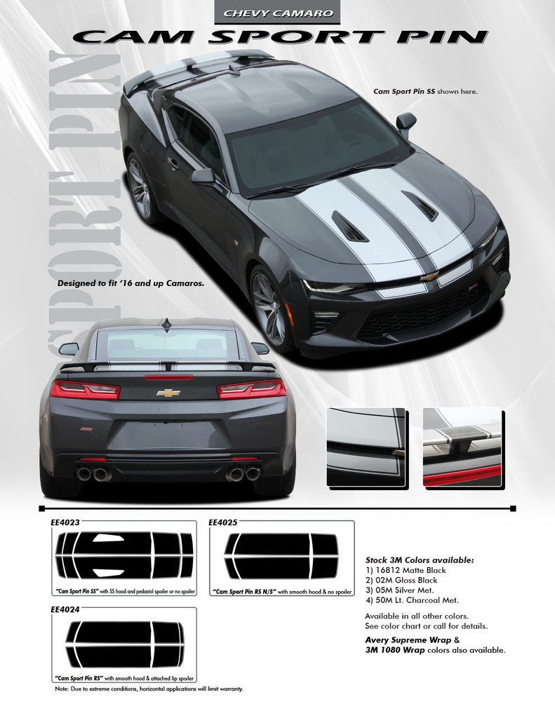 Cam-Sport Pin Stripe Graphics fit 2016-2018 Chevy Camaro