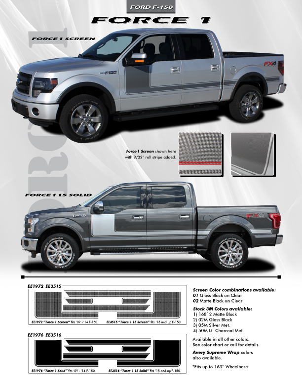 Force 1 Stripe kit for 2015-2018 Ford Trucks