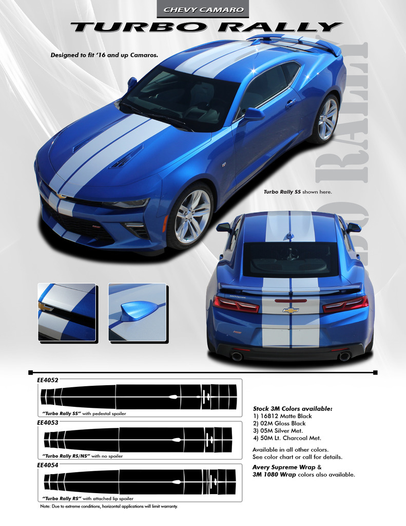 Turbo Rally Vinyl Graphics fit 2016-2018 Chevy Camaro